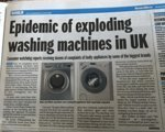 Exploding washing machines reported in the press