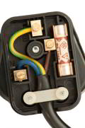 Yellow & Green is earth (top pin) Brown is live (right pin next to fuse) Blue is neutral (left pin)
